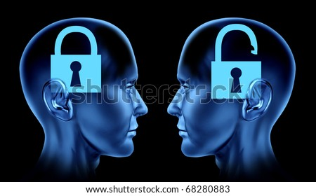open mind key locked un locked brain mind human head phsycology phsycological mindlock memories therapy