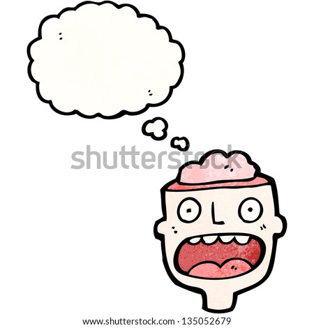 open minded cartoon character - stock photo