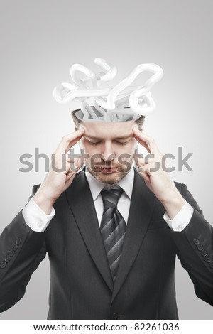 Open minded man with confusing tangle of thoughts.Conceptual image of a open minded man - stock photo
