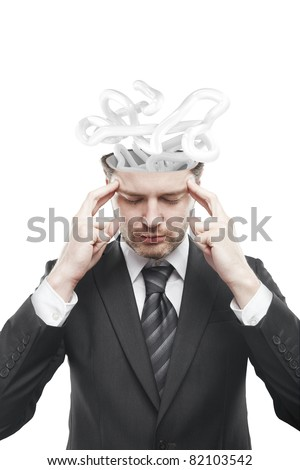 Open minded man with confusing tangle of thoughts.Conceptual image of a open minded man.Isolated on a white background - stock photo