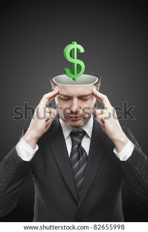 Open minded man with 3d Green Dollar Sign inside thinking about it. Conceptual image of a open minded man. - stock photo
