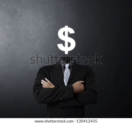 Open minded man with Dollar Sign inside thinking - stock photo