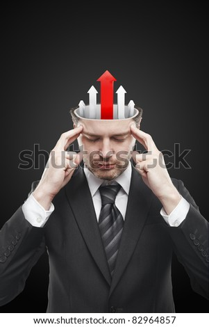 Open minded man with five arrows pointing up.Conceptual image of a open minded man. - stock photo