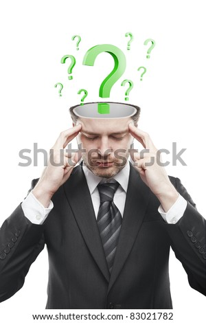 Open minded man with Green question marks inside.Conceptual image of a open minded man.Isolated on a white background - stock photo
