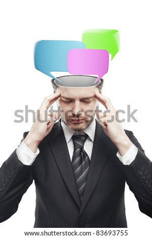 Open minded man with speech bubbles inside. Conceptual image of a open minded man. Isolated on a white  background - stock photo