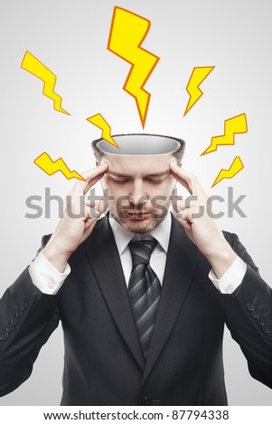 Open minded man with storm inside the head. Lightning going through the head and brain.  Concept of headache or the power of mind. Conceptual image of a open minded man. - stock photo