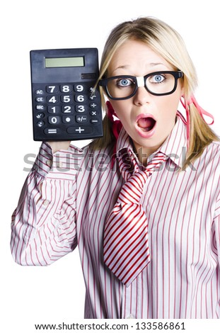 Open mouth young woman with large calculator, business concept with white studio background