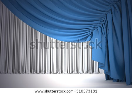 Open navy blue theater curtain with light and shadows of the open, background - stock photo