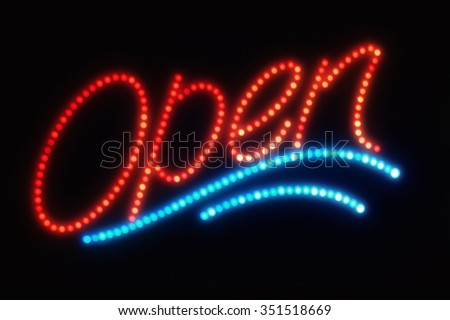 Open Neon or Led Sign over black - stock photo