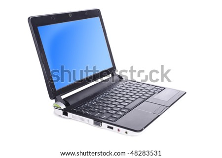 open netbook on white background (close up)