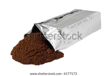 Open new coffee vacuum foil bag on white background. Clipping path included. - stock photo