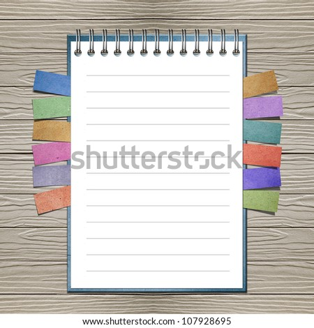 Open note book with bookmark