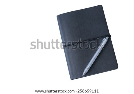 Open notebook and pen for writing in white background - stock photo