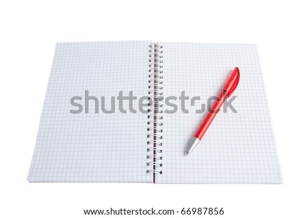 open notebook and pen on a white background - stock photo