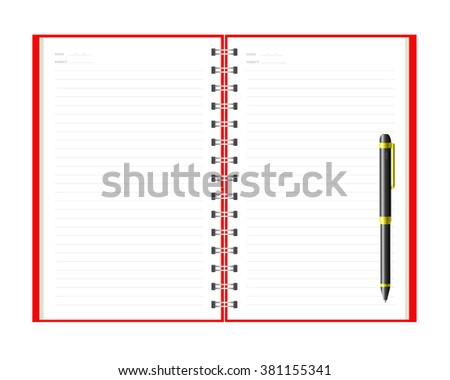 Open notebook and pen with white page
