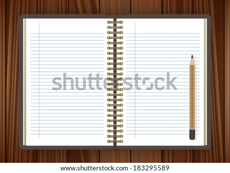 Open notebook and pencil page on wooden background - illustration