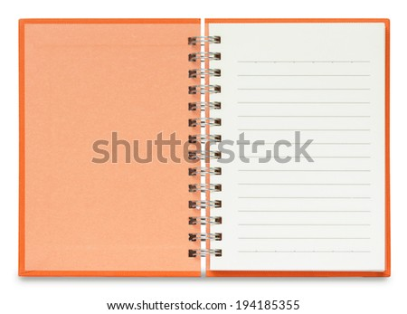 open notebook blank Spiral Notebook on White Background with clipping path