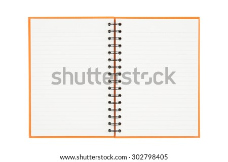 Open notebook isolated on white background and Clipping path - stock photo