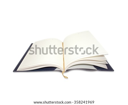 Open notebook on white background - stock photo