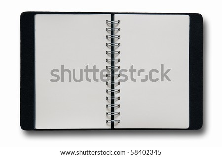 Open Notebook on white background isolate - stock photo