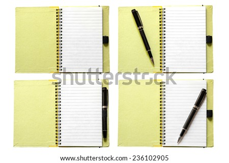 Open notebook with black pen isolated on white - stock photo