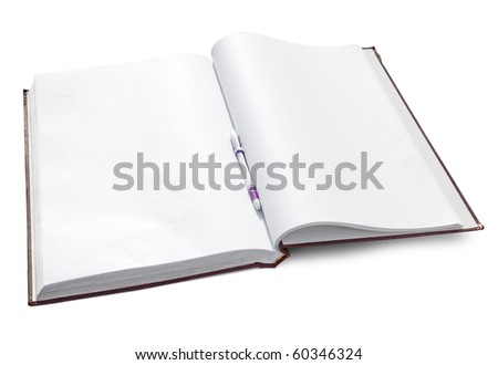 Open notebook with clear pages isolated on white. Clipping path included. - stock photo