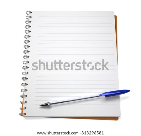 Open notebook with pen, isolated on white - stock photo