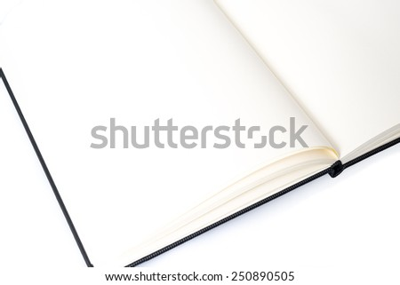 Open notebook with space for your text with shadow and reflection on white background - stock photo