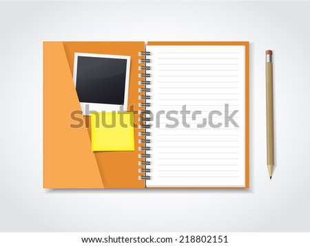 open notebook with stationery isolated on white background