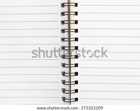 Open notebook with white page background