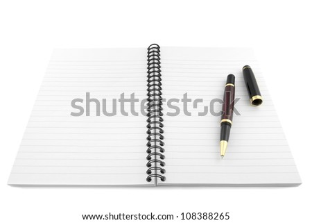 Open notepad and pen isolated on white