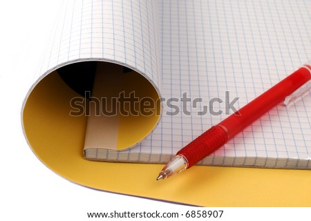 Open notepad and pen isolated on white - stock photo