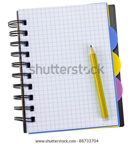 Open notepad and pen. Isolated on white