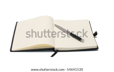 Open notepad and pen isolated on white background. - stock photo