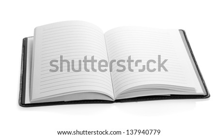 Open notepad close up, isolated on white