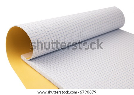 Open notepad isolated on white - stock photo