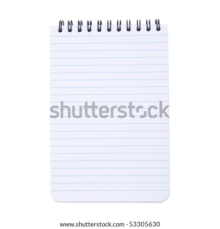 Open Notepad Isolated on White Background - stock photo