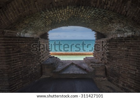 Open ocean outside abandoned Fort Jefferson. Dry Tortugas National Park, Florida. - stock photo