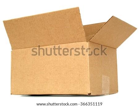 Open of an empty cardboard box - stock photo
