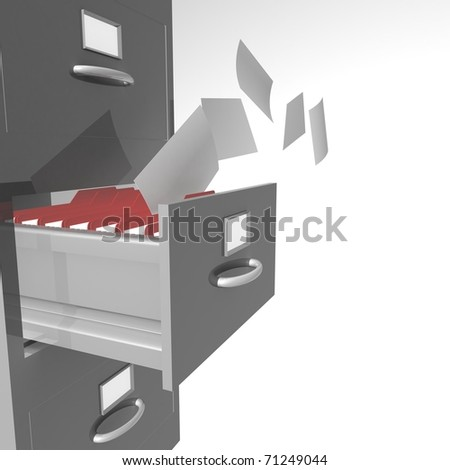 Open office box will fill folders from which the fly sheets paper - stock photo