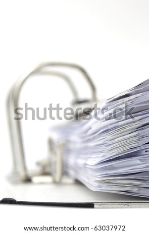 Open office ring binder - document management - stock photo
