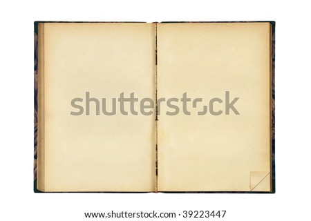 Open old blank book isolated on white