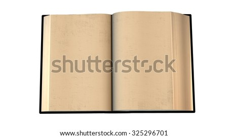 open old blank book isolated on white background - stock photo