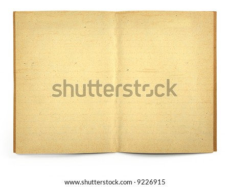 open old blank exercise book, gentle natural shadow in front - stock photo