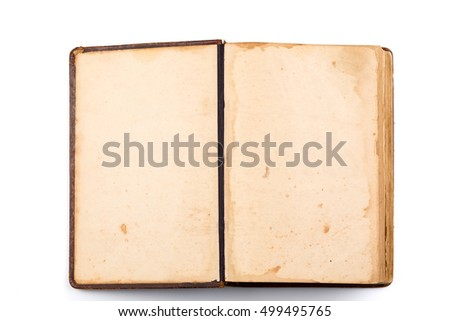 Open old book blank on white background