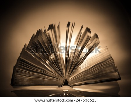 Open old book in sepia color - stock photo