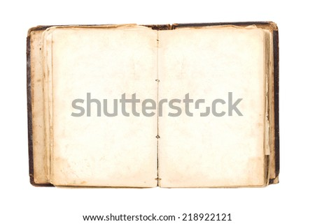 Open old book. Isolated on white - stock photo
