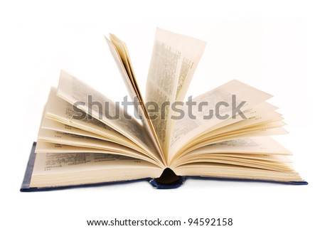 Open old book isolated on white - stock photo