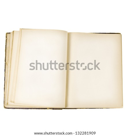 Open old book isolated on white background - stock photo