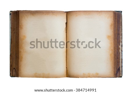 open old book isolated on white background. - stock photo